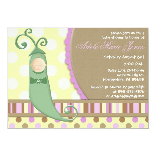 Pea in a Pod Baby Girl Baby Shower Invitation