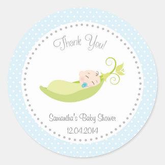 Pea In A Pod Baby Shower Sticker Blue
