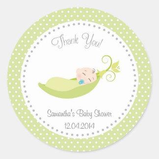 Pea In A Pod Baby Shower Sticker Green