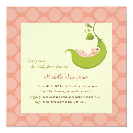 Pea in a Pod Girl Baby Shower Invitation