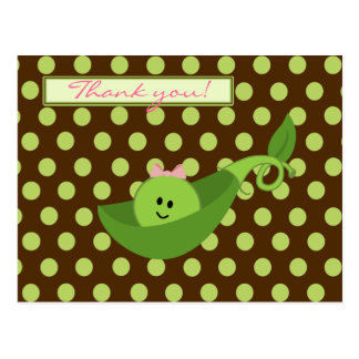 Pea in a Pod Girl Baby Shower Thank You Postcard