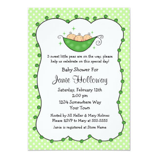 Pea In My Pod Triplets Baby Shower Card