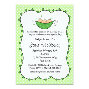Triplet baby invitations announcements zazzle pea in my pod triplets baby shower invitation filmwisefo