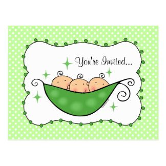 Pea In My Pod Triplets Baby Shower Postcard Invite