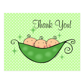 Pea In My Pod Triplets Thank You Postcard