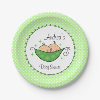 Pea in My Pod Twins Paper Plate