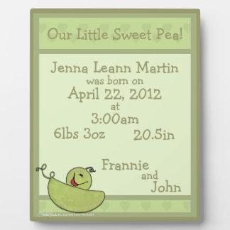 Pea Pod Baby Birth Information Display Plaques