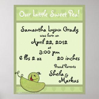 Pea Pod Baby Birth Information Poster