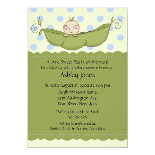 Pea Pod Baby Boy Baby Shower Invitations