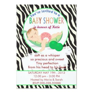 Pea Pod Sleeping rocking zebra baby shower Card
