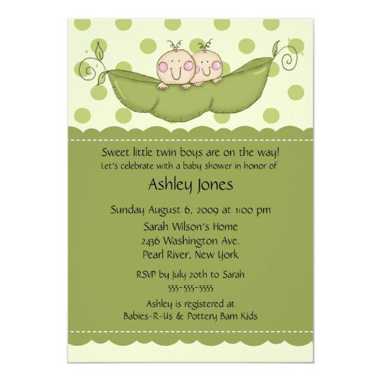 Pea Pod Twin Boy Or Girl Baby Shower Invitations