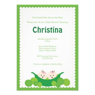 Pea Pod Twin Girls Baby Shower Invitation