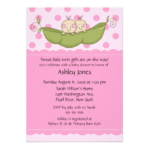 Pea Pod Twin Girls Baby Shower Invitations