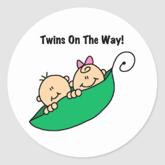 Pea Pod Twins on the Way Classic Round Sticker