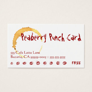 Peaberry Coffee Drink Punch Card