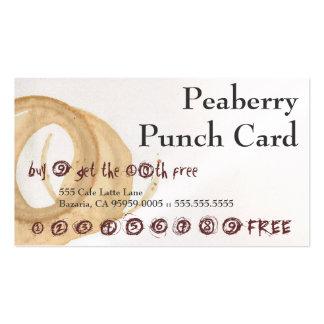 Peaberry manchó la tarjeta de sacador de la bebida tarjetas de visita