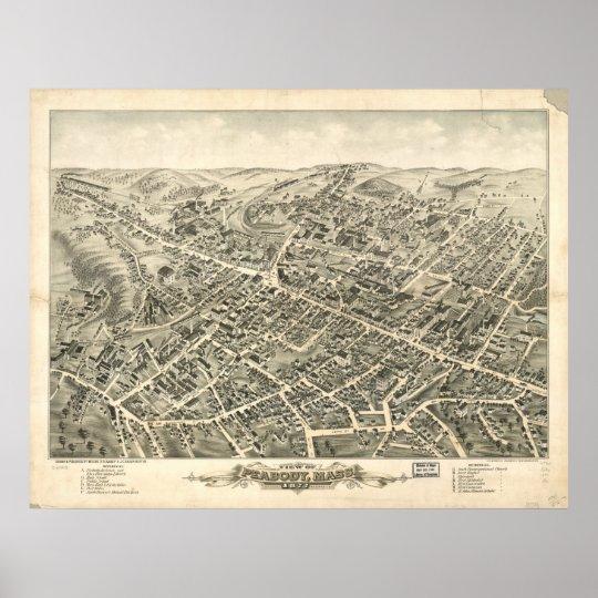 Peabody Massachusetts 1877 Antique Panoramic Map Poster