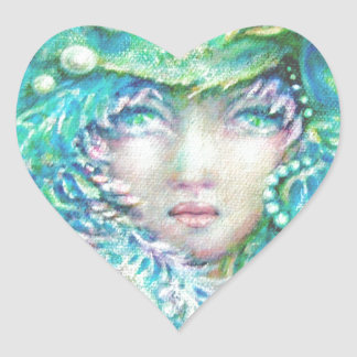 Peacck Girl by MagentaRivers Heart Sticker