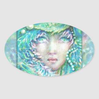 Peacck Girl by MagentaRivers Oval Sticker