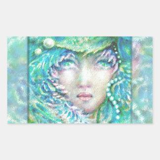 Peacck Girl by MagentaRivers Rectangular Sticker