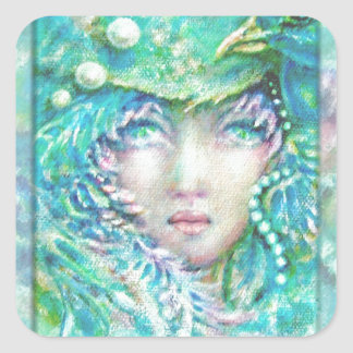 Peacck Girl by MagentaRivers Square Sticker