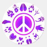 peace2 peludo etiquetas redondas