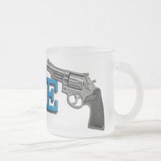 PEACE 10 OZ FROSTED GLASS COFFEE MUG