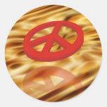 Peace 3D / reflexion | dark orange waves Round Sticker