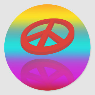 Peace 3D / reflexion | linear coloured Classic Round Sticker