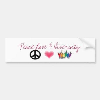 peace_4, corazones, diversidad, amor de la paz y d pegatina de parachoque