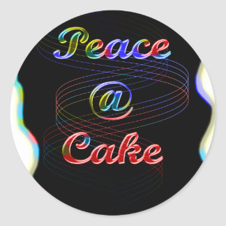 Peace A Cake Emboss nice Black Background Classic Round Sticker