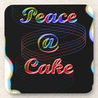 Peace A Cake Emboss nice Black Background Coaster