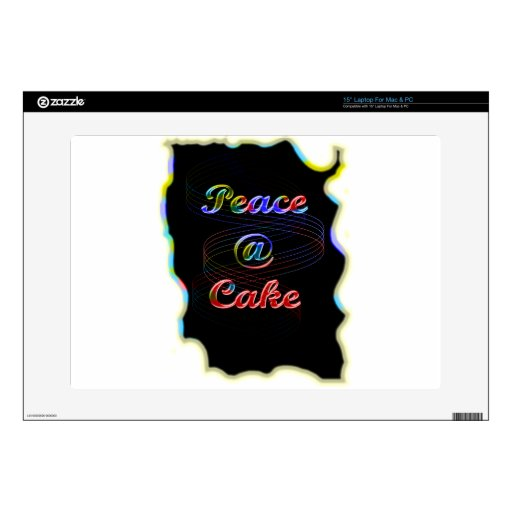 "Peace A Cake Emboss nice Black Background 15"" Laptop Decal"