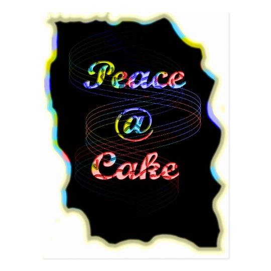 Peace A Cake Motif pattern nice Black Background Postcard