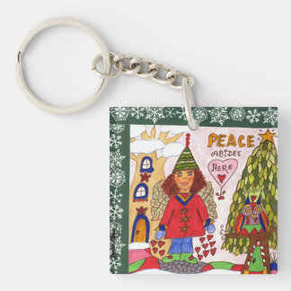 PEACE Abides Here Fairy Square Acrylic Key Chain