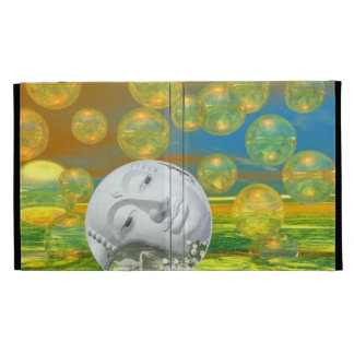 Peace – Abstract Golden and Emerald Serenity iPad Folio Cover