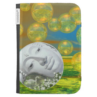 Peace – Abstract Golden and Emerald Serenity Kindle 3 Case