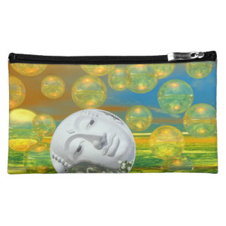 Peace – Abstract Golden and Emerald Serenity Cosmetic Bag