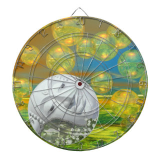 Peace – Abstract Golden and Emerald Serenity Dart Boards