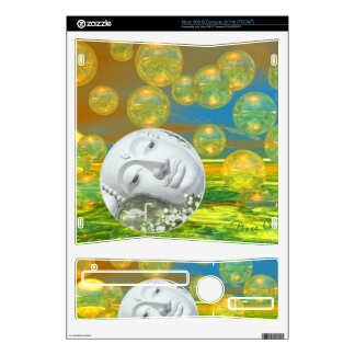 Peace – Abstract Golden and Emerald Serenity Decal For Xbox 360 S