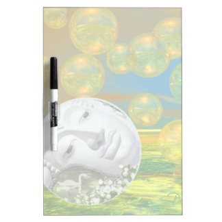 Peace – Abstract Golden and Emerald Serenity Dry Erase Board
