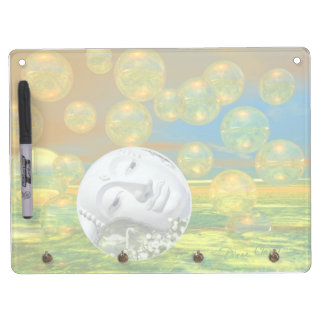 Peace – Abstract Golden and Emerald Serenity Dry Erase Board With Keychain Holder