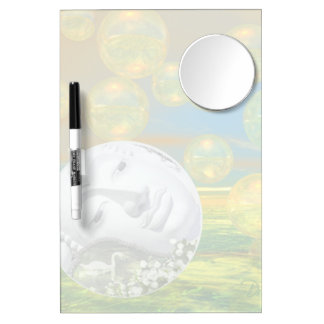Peace – Abstract Golden and Emerald Serenity Dry Erase Board With Mirror