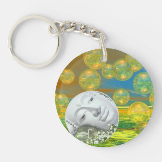 Peace – Abstract Golden and Emerald Serenity Keychain