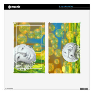 Peace – Abstract Golden and Emerald Serenity Kindle Fire Skins