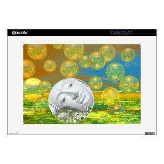 """Peace – Abstract Golden and Emerald Serenity 15"""" Laptop Skin"""