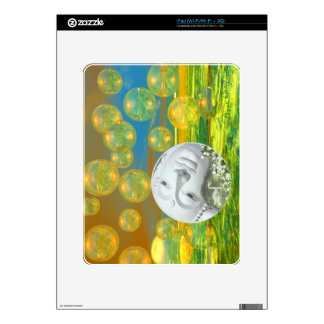Peace – Abstract Golden and Emerald Serenity Decal For iPad