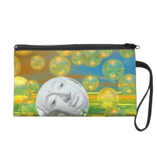 Peace – Abstract Golden and Emerald Serenity Wristlet Purse