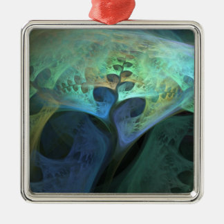 """Peace"" Abstract Organic Fractal Metal Ornament"