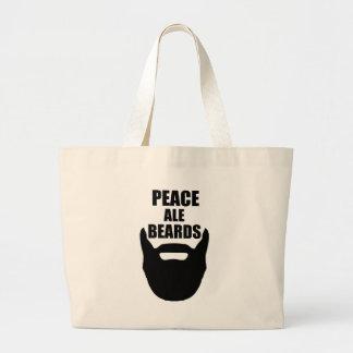 Peace Ale Beards Large Tote Bag